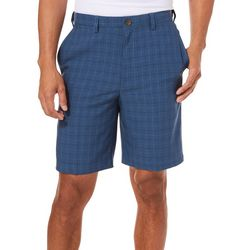 Haggar Mens Cool 18 Pro Windowpane Plaid Shorts