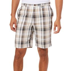 Haggar Mens Cool 18 Pro Putty Madras Plaid Shorts