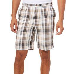 c1aae61e9d2d97 Haggar Mens Cool 18 Pro Putty Madras Plaid Shorts