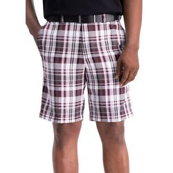 Haggar Mens Cool 18 Pro Madras Plaid Flat Front Shorts