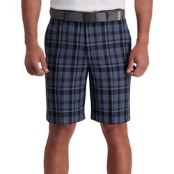 Haggar Mens Cool 18 Pro Plaid Flat Front Shorts