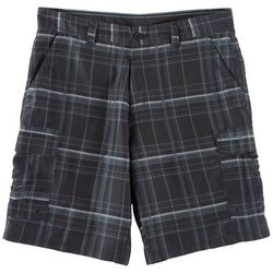 Burnside Mens Plaid Microfiber Cargo Shorts