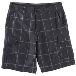 Burnside Mens Glen Plaid Microfiber Cargo Shorts