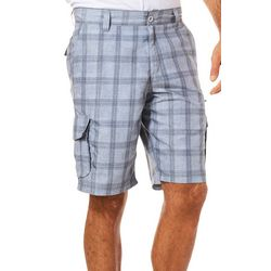 Burnside Mens Plaid Dark Wash Microfiber Cargo Shorts