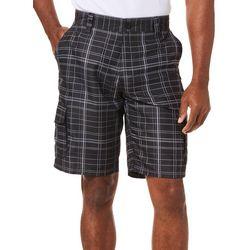 Burnside Mens Plaid Printed Microfiber Cargo Shorts