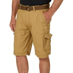 Wearfirst Mens Solid Ripstop Belted Cargo Shorts
