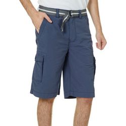 Wearfirst Mens Ripstop Solid Belted Cargo Shorts