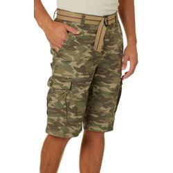Wearfirst Mens Camo Ripstop Belted Cargo Shorts