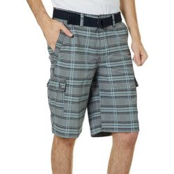 Wearfirst Mens Belted Plaid Cargo Shorts