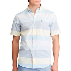 Chaps Mens Stripe Print Button Down Short Sleeve Shirt