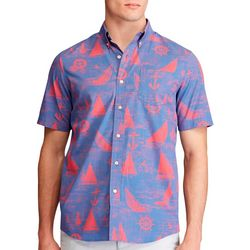 Chaps Mens Sailboat Button Down Short Sleeve Shirt