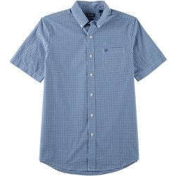 Chaps Mens Gingham Button Down Short Sleeve Shirt