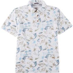 Boca Islandwear Mens Tropical Sailfish Polo Shirt