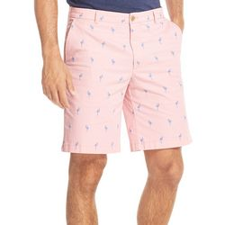 IZOD Mens Saltwater Stretch Flamingo Print Chino Shorts