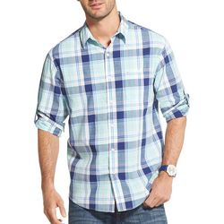 IZOD Mens Plaid Chambray Roll Sleeve Shirt