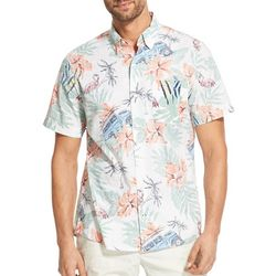 IZOD Mens Dockside Tropical Print Chambray Button Down Shirt