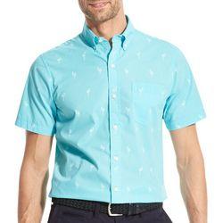 IZOD Mens Breeze Flamingo Woven Button Down Shirt