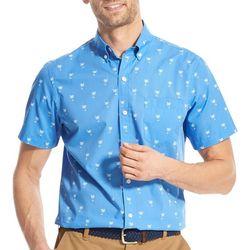 IZOD Mens Breeze Palm Woven Button Down Shirt