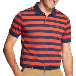 IZOD Mens Advantage Striped Print Polo Shirt