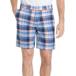 IZOD Mens Madras Yarn Dye Flat Front Shorts