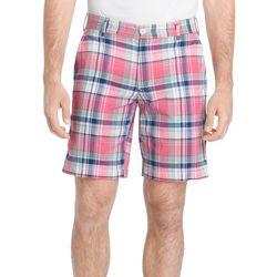 IZOD Mens Plaid Yarn Dye Flat Front Shorts