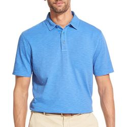 IZOD Mens Solid Slub Short Sleeve Polo Shirt