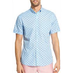 IZOD Mens Star Print Woven Button Down Shirt