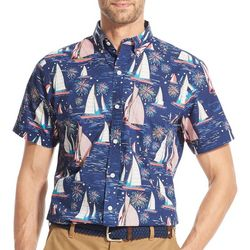 IZOD Mens Sailboat Party Woven Button Down Shirt