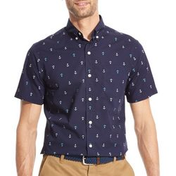 IZOD Mens Breeze Anchor Woven Button Down Shirt