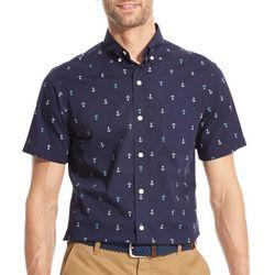 IZOD Mens Breeze Anchor Woven Button Down Shirt