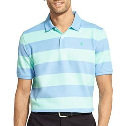 IZOD Mens Advantage Rugby Stripe Short Sleeve Polo