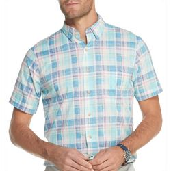 IZOD Mens Dockside Plaid Chambray Short Sleeve Shirt