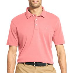 IZOD Mens Solid Interlock Short Sleeve Polo Shirt