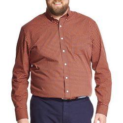IZOD Mens Big & Tall Gingham Button Down Long Sleeve Shirt