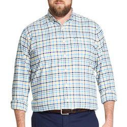 IZOD Mens Big & Tall Plaid Oxford Shirt