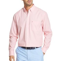 IZOD Mens Solid Pastel Button Down Long Sleeve Shirt