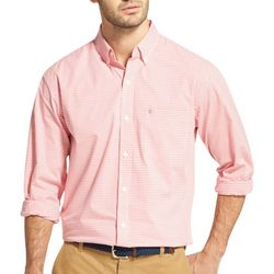 IZOD Mens Gingham Print Button Down Long Sleeve Shirt