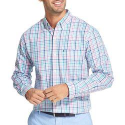 IZOD Mens Roadmap Plaid Button Down Long Sleeve Shirt