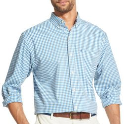 IZOD Mens Gingham Plaid Button Down Long Sleeve Shirt