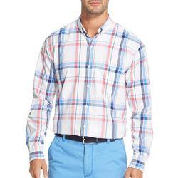 IZOD Mens Plaid Button Down Woven Long Sleeve Shirt