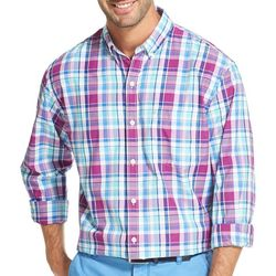 IZOD Mens Plaid Print Pocket Long Sleeve Shirt