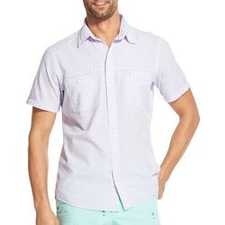 IZOD Mens Solid Short Sleeve Button Down Shirt
