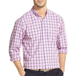IZOD Mens Tattersall Plaid Woven Long Sleeve Shirt