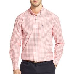 IZOD Mens Small Plaid Woven Long Sleeve Shirt