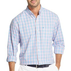 IZOD Mens Small Plaid Woven Button Down Shirt
