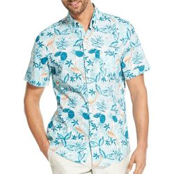 IZOD Mens Saltwater Dockside Chambray Flamingo Shirt