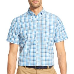 IZOD Mens Plaid Woven Button Down Short Sleeve Shirt