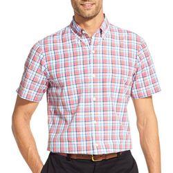 IZOD Mens Plaid Woven Button Down Short Sleeve Shirt
