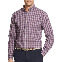 IZOD Mens Big & Tall Plaid Long Sleeve Shirt