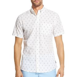IZOD Mens Breeze Anchor Print Woven Button Down Shirt